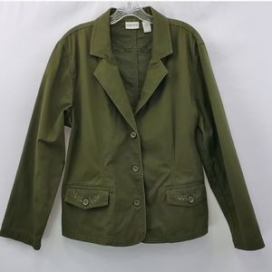 Chicos army green embellished 3 button jacket